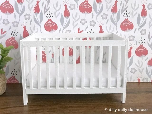 dollhouse miniature crib with mattress