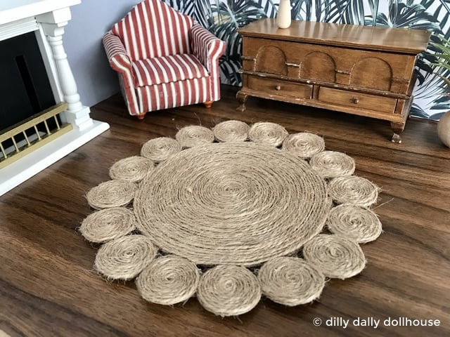 miniature dollhouse jute rug in a living room scene