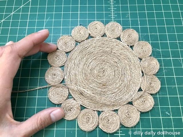 almost finished dollhouse jute rug