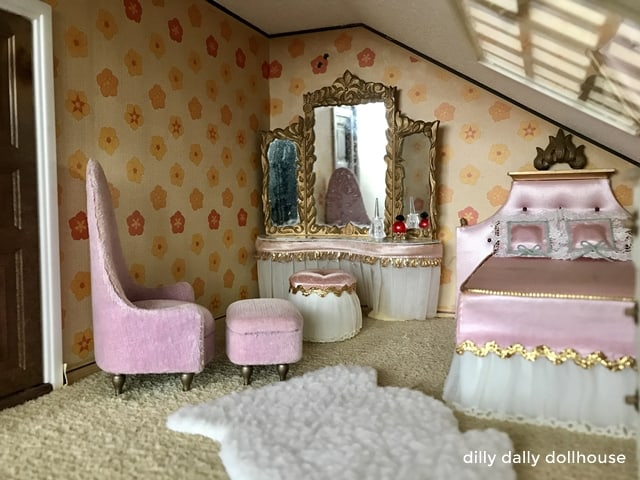 Petite Princess dollhouse pink bedroom furniture