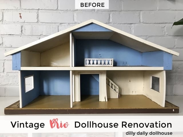 vintage Brio dollhouse renovation before starting