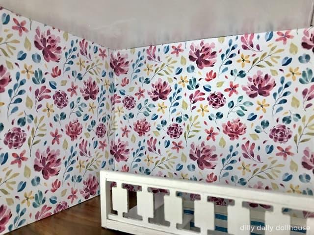brio dollhouse renovation wallpaper at main room corner