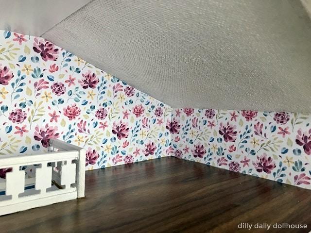 brio dollhouse renovation floral wallpaper