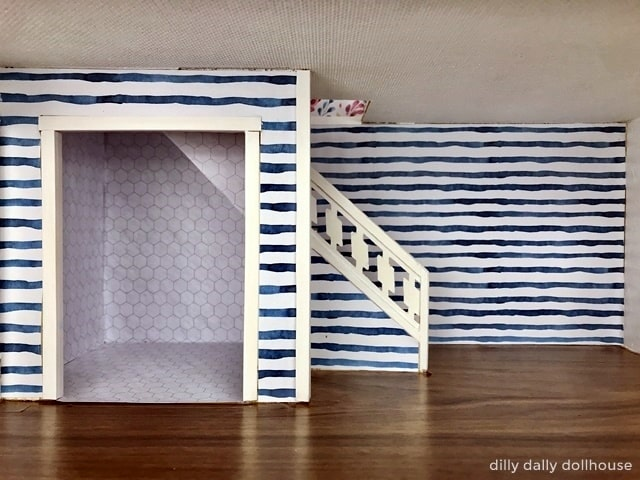 brio dollhouse renovation stripes wallpaper at lower room