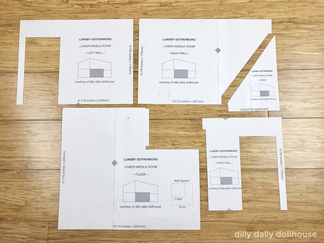 lundby dollhouse templates after being cut out