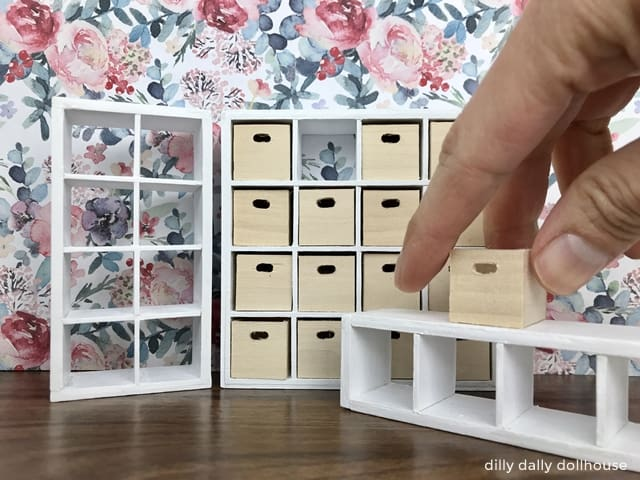 miniature ikea kallax bookcases in three sizes