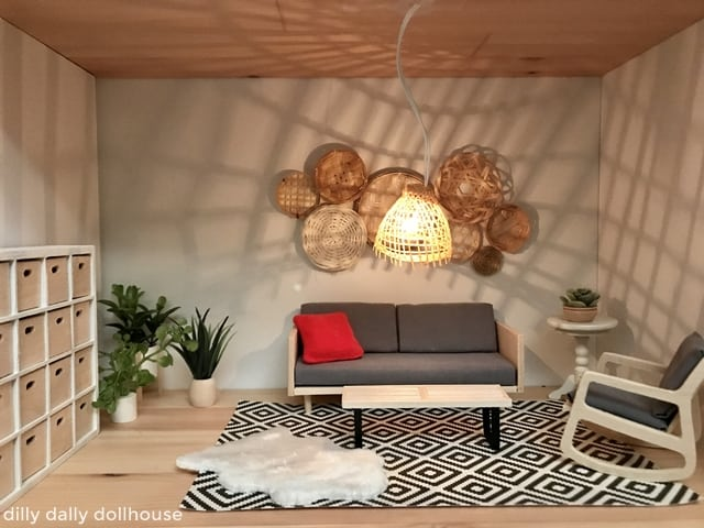 lighted bohemian rattan dollhouse ceiling light