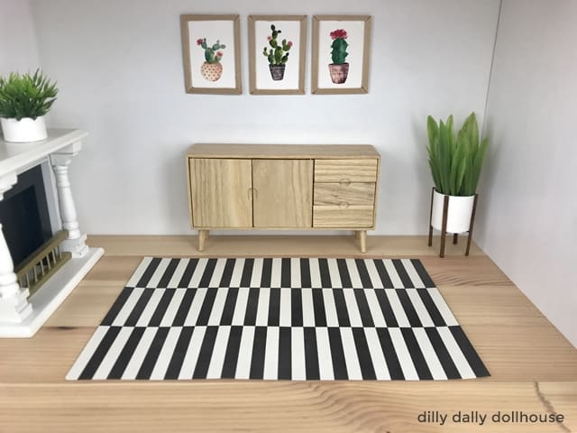 modern dollhouse rug in living room