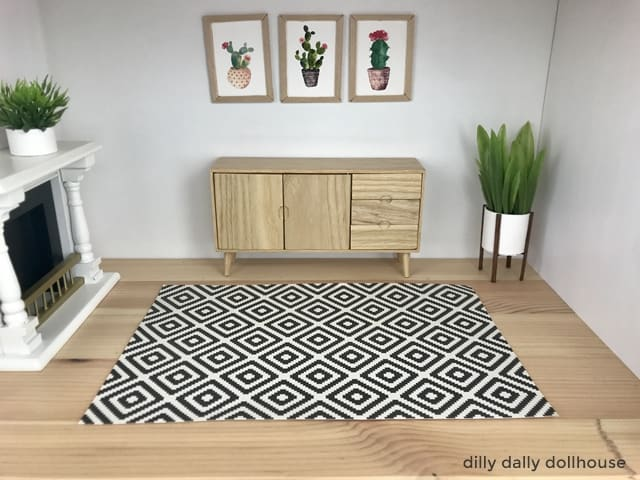 modern dollhouse rug in living room scene