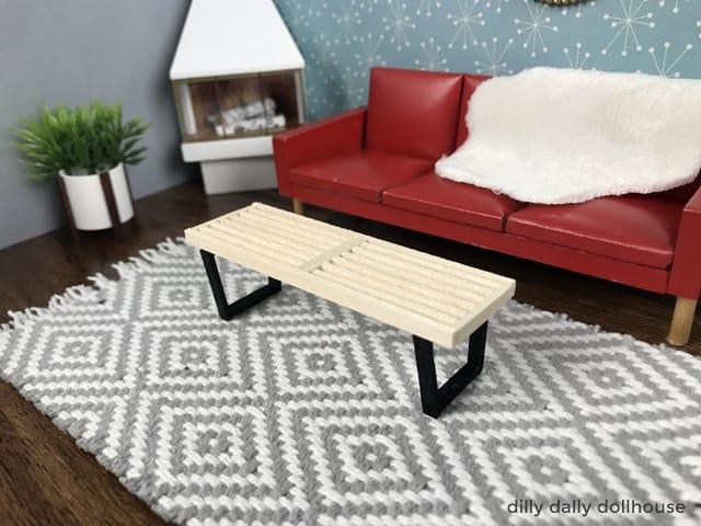 miniature slat bench in 1:16 scene