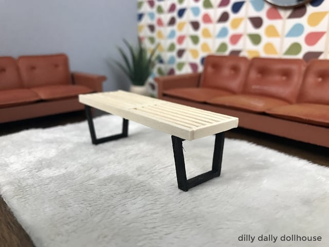 dollhouse miniature slat bench in 1:16 setting