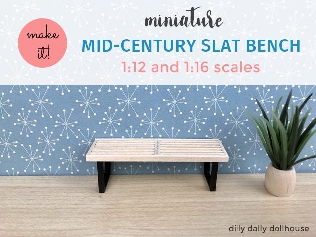 miniature slat bench 1:16 scale