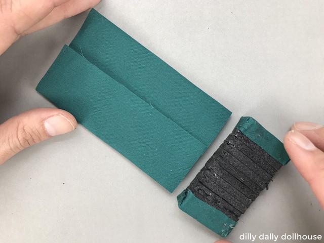 cushion fabric folded in half