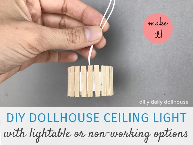 DIY dollhouse ceiling light held by hand