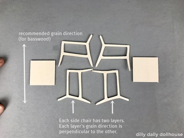 pieces of modern miniature chair