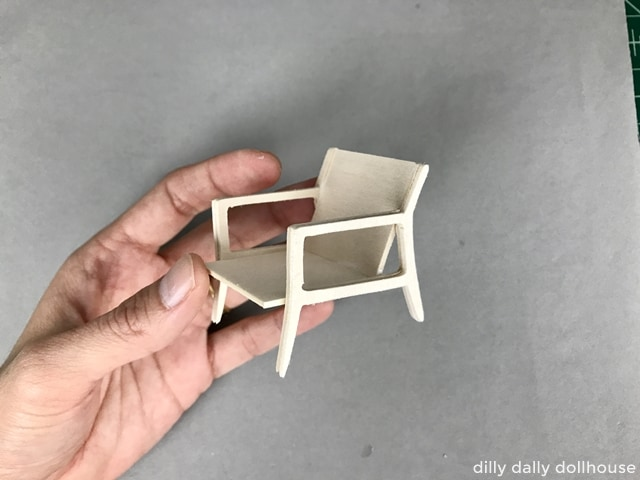 finished frame of modern miniature chair