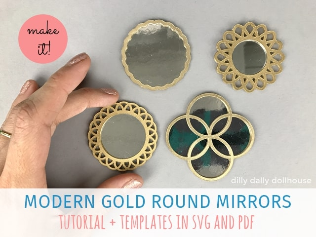 set of dollhouse miniature gold mirrors