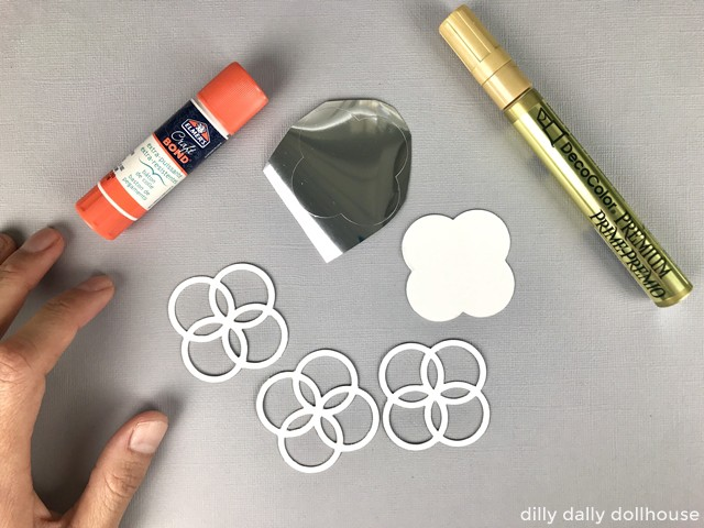 materials to make miniature gold mirrors