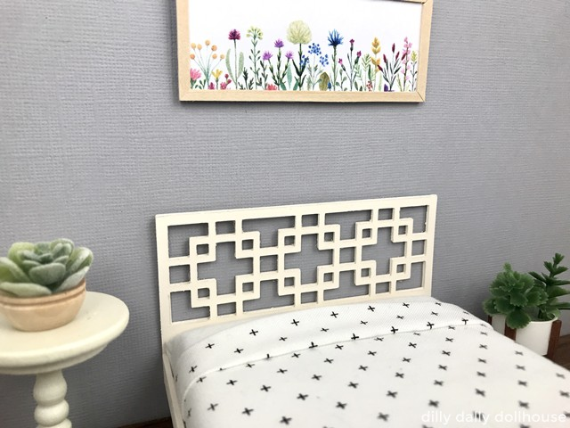 Dollhouse bed with West Elm overlapping squares headboard