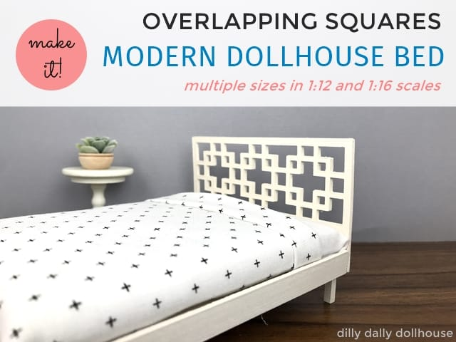 modern dollhouse bed with overlapping squares headboard