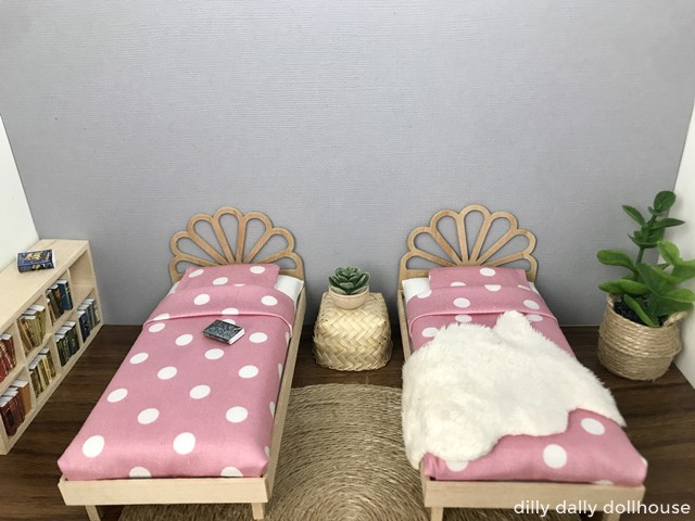 pair of dollhouse peacock bed