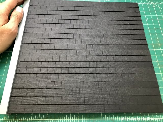 dollhouse roof with cardstock to simulate slates
