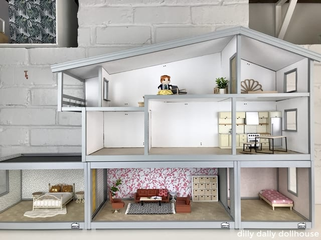 assembled Hanse dollhouse renovation with Lundby Room extension