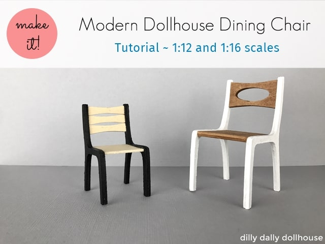 modern dollhouse dining chairs in 1:12 and 1:16 scales
