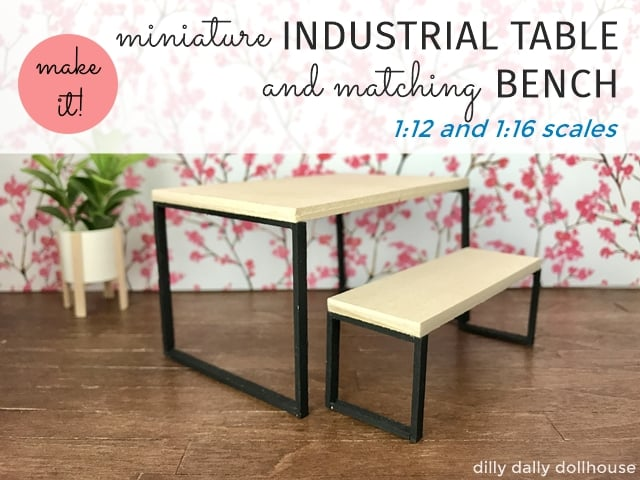 Industrial table and bench for dollhouse miniature