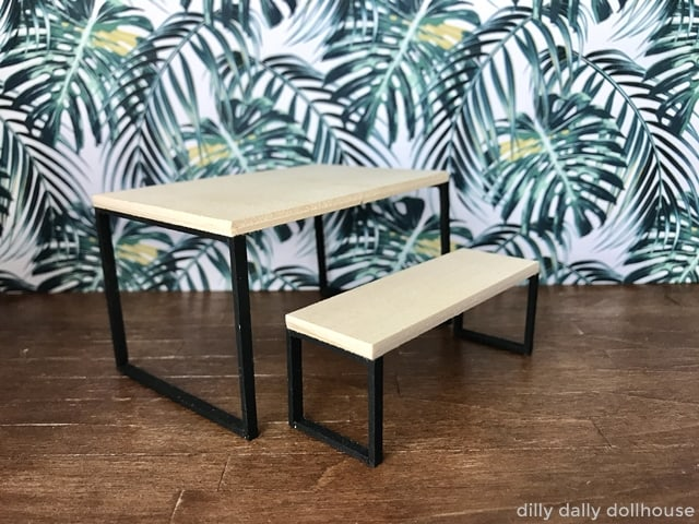 dollhouse miniature industrial-style table and bench