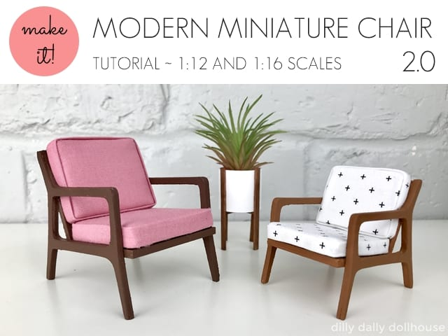 modern miniature chair in 1:12 and 1:16 scales