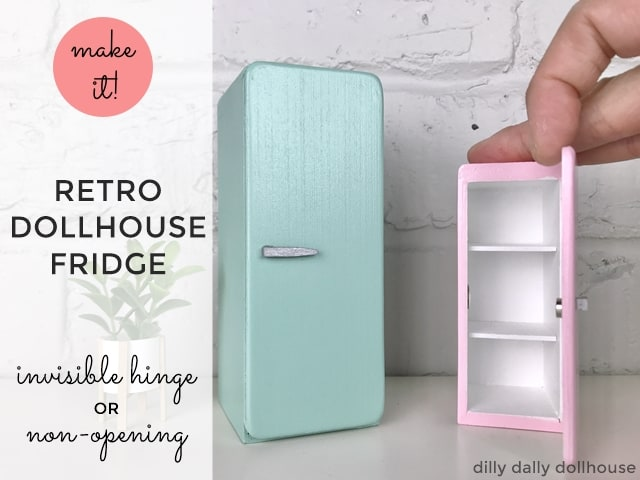 retro dollhouse miniature fridge refrigerator in 1:12 and 1:16 Lundby scale
