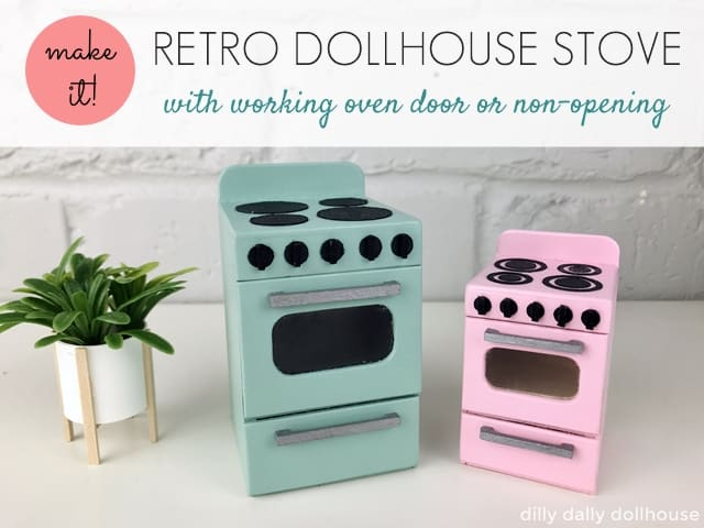 retro dollhouse stove 1:12 and 1:16 scale