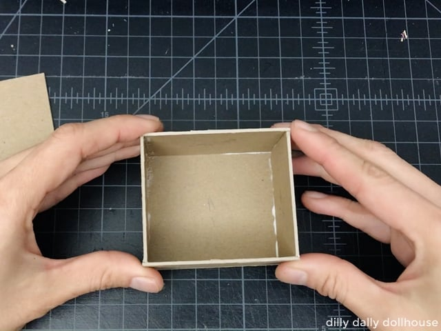 making a simple box for the inner frame of a dollhouse kitchen corner cabinet