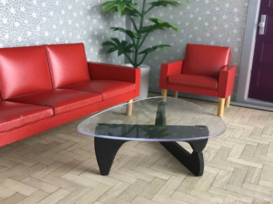 mid-century miniature coffee table in Lundby room