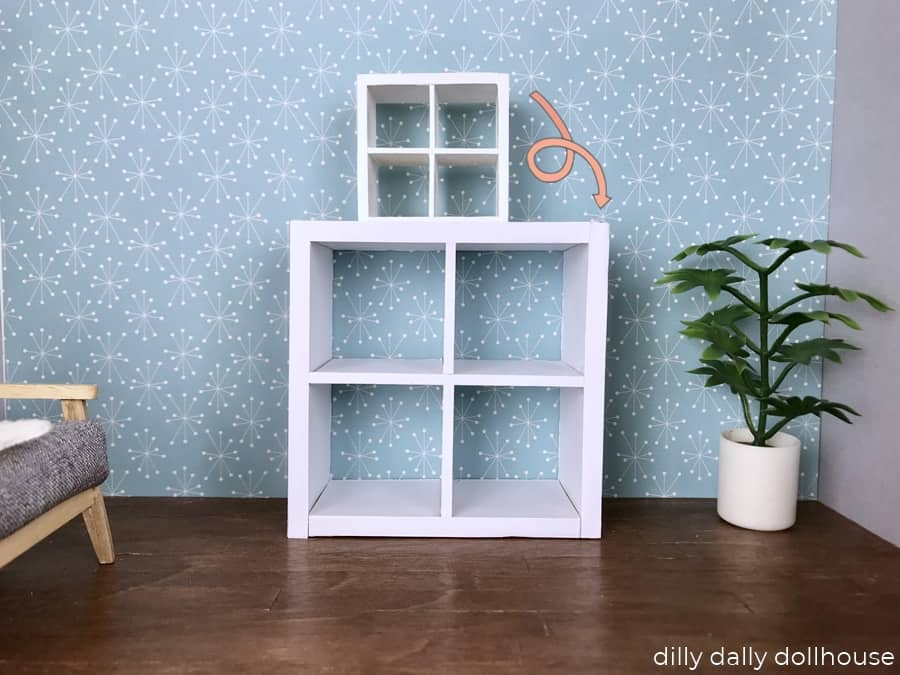 miniature cube bookcase converted from 1:16 to 1:8 scale