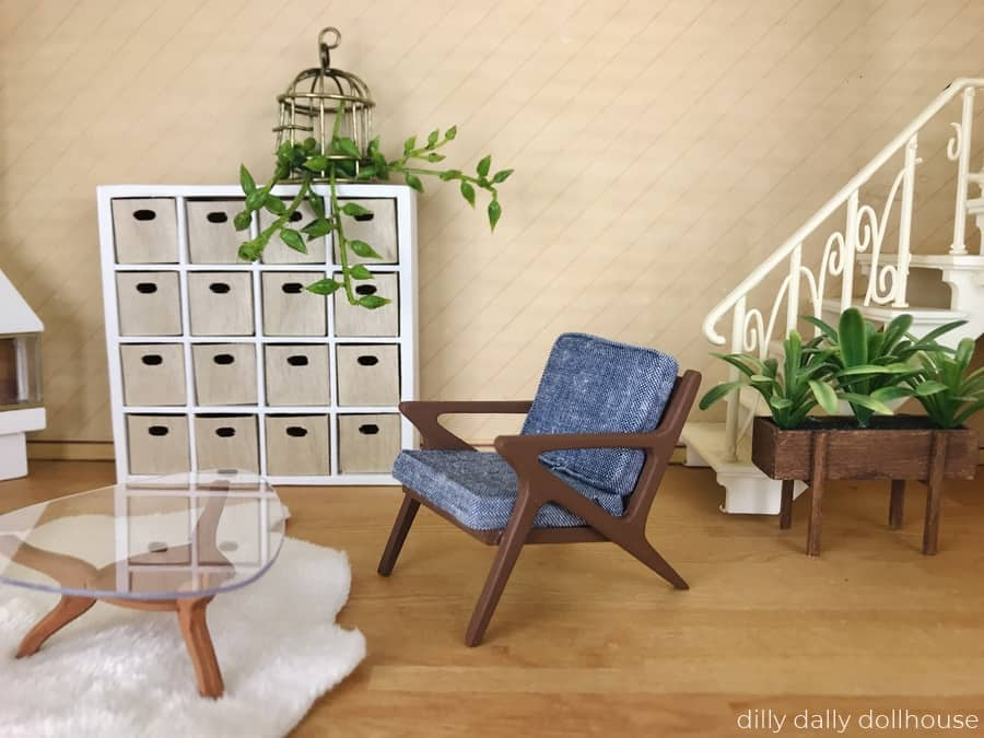 dollhouse miniature chair in mid-century style